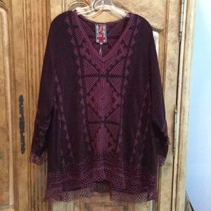 NWT Johnny Was Renee Crochet Embroidered Tunic